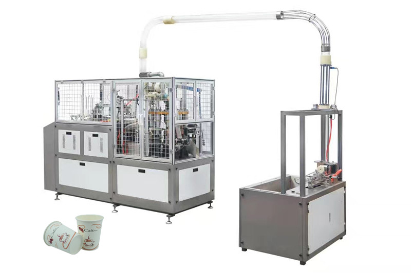 CE SGS High Speed Paper Tea Cup Making Machine Welding By Ultrasonic Heater
