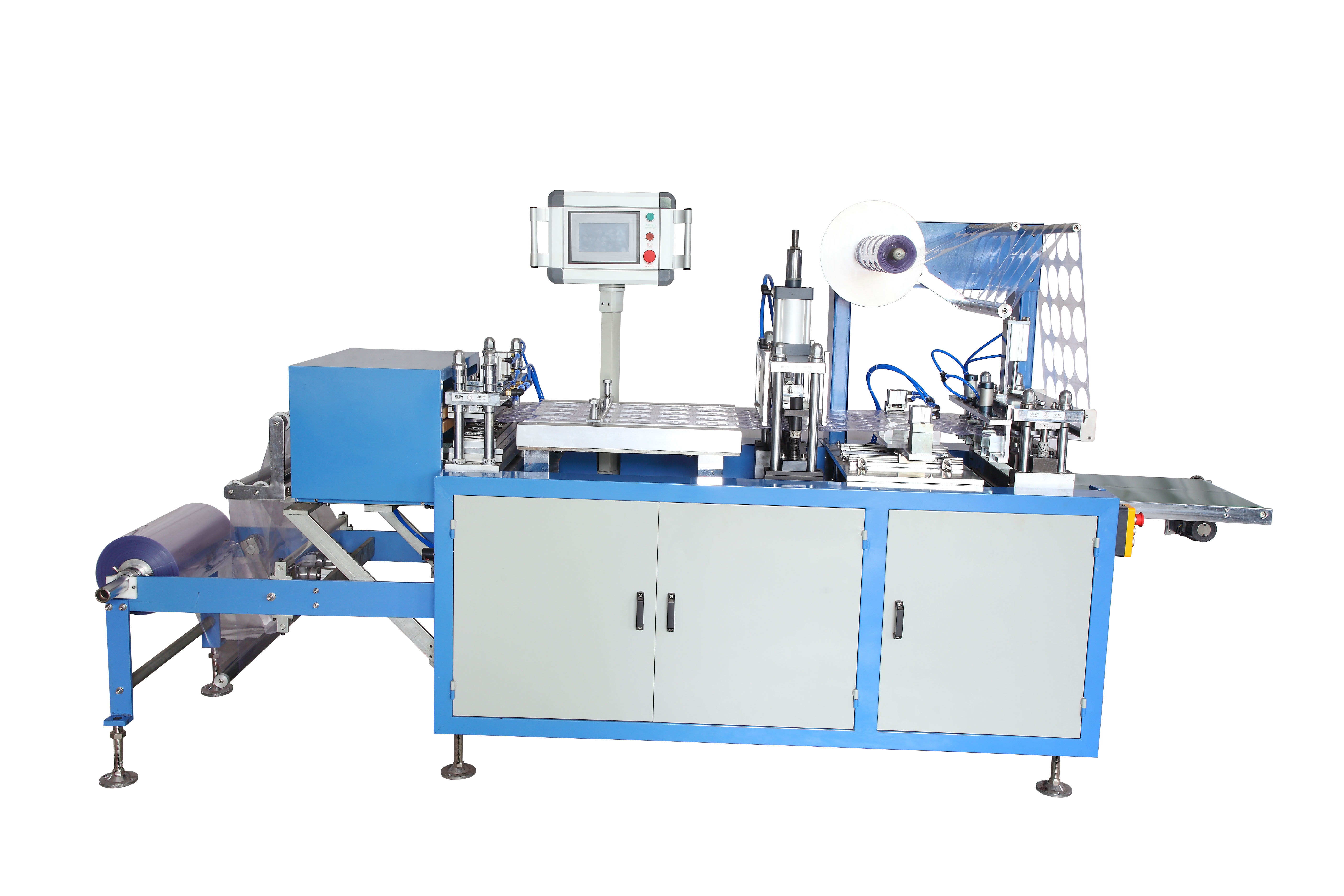 PLC Touch Screen Control Plastic Lid Forming Machine With Safety Cover 15-35 Punch / Min